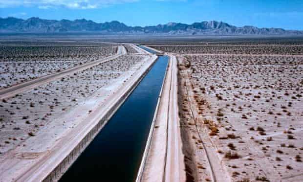 Water flows through the Southern California desert