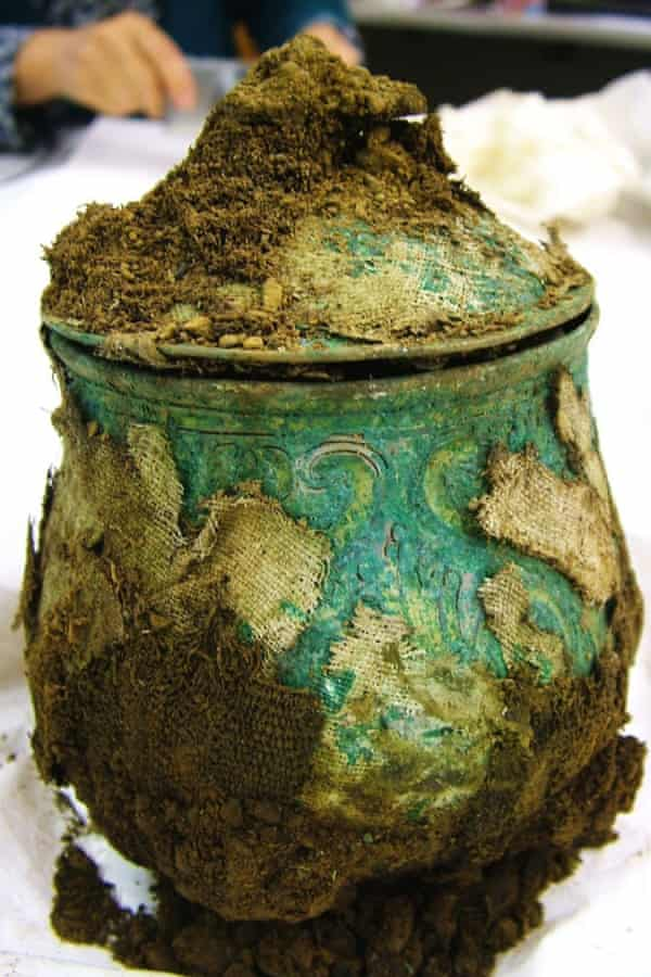 A large silver alloy Carolingian lidded vessel, part of the hoard of Viking treasure unearthed by metal-detecting enthusiast Derek McLennan, 47, in one of the most significant finds of its kind ever made in Scotland.