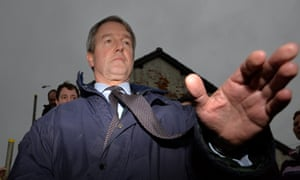 Former environment secretary Owen Paterson outside the North Moor pumping station in Moorland, flood-hit Somerset