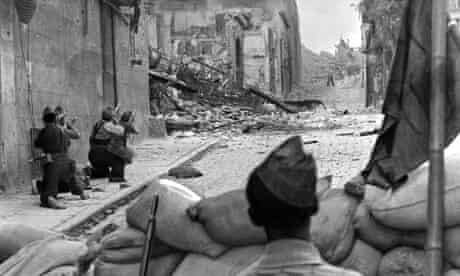 Nationalists and republicans battle during the siege of the Alcázar in Toledo in July 1936.