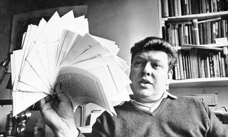 BS Johnson with his manuscript of The Unfortunates