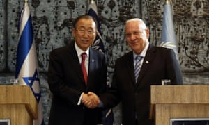 UN secretary general Ban Ki-moon and Israeli president Reuven Rivlin