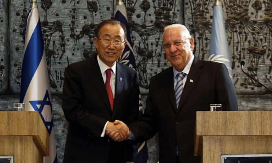 UN secretary general Ban Ki-moon and Israeli president Reuven Rivlin