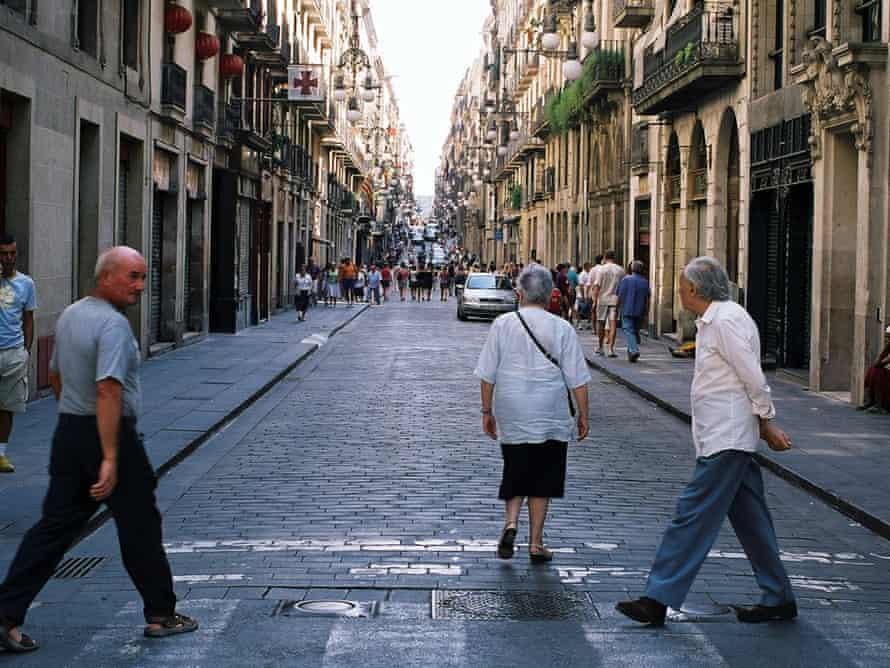 Elderly people crossing the street in Barcelona