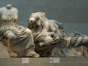 Sections of the Parthenon marbles in London's British Museum.