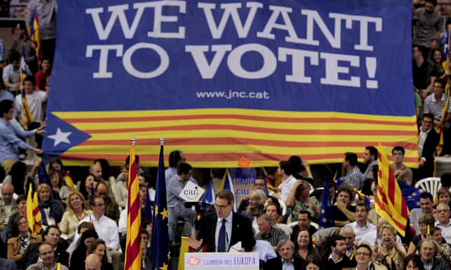 Artur Mas, the Catalan president, at a rally in May.
