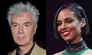 Composite of David Byrne and Alicia Keys