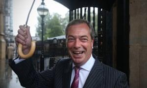 UK Independence Party (UKIP) leader Nigel Farage arrives at Parliament on October 13.