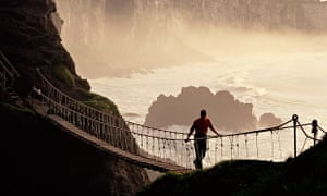 Carrick-a-Rede rope bridge, Co. Antrim Northern Ireland. Image shot 2002. Exact date unknown.