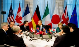President Barack Obama, centre rear,  gathered with G7 world leaders.
