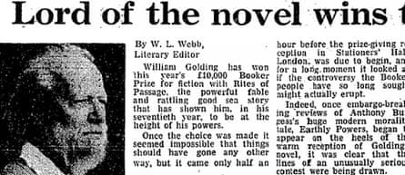 Golding wins Booker prize, 1980
