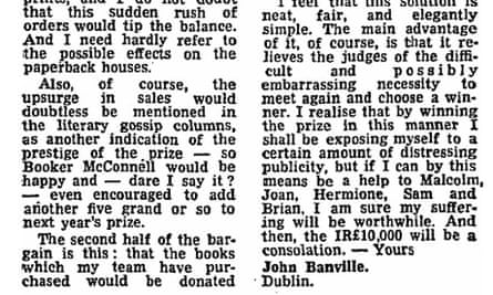 John Banville letter to Guardian about Booker prize, 1981