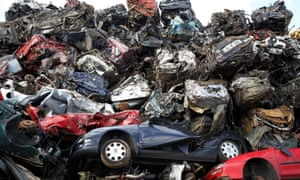 Scrapped cars at metal recycling site