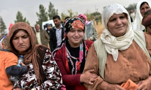 Kurdish women react during a funeral ceremony for of YPG (People's Protection Units) fighters in the town of Suruc, Sanliurfa province, Turkey.