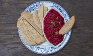 Jack Monroe's beetroot hummus with homemade flatbread.
