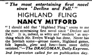 Advert in the Observer for Highland Fling by Nancy Mitford, 15 March 1931