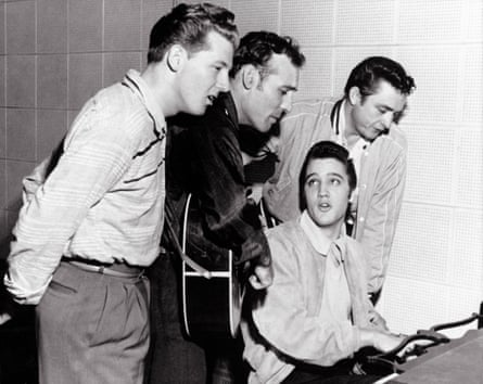 Jerry Lee Lewis with (left to right) Carl Perkins, Elvis Presley and Johnny Cash in the jam session at Sun Records that became known as the Million Dollar Quartet, 4 December 1956.