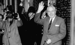 Harold Wilson arrives at 10 Downing Street after being elected as Britain's prime minister in 1964.