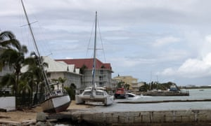 A picture shows boats washed up on the beach in the aftermath of the hurricane Gonzola on Marigot on the French Caribbean island of Saint Martin.