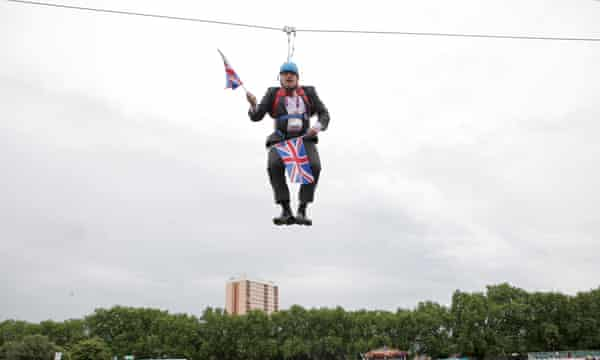 High and dry: stuck on a zip-line in Victoria Park in August 2012.