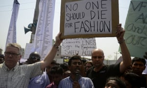 Protests the the site of the Rana Plaza building collapse