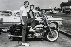 6/14/58 Memphis, Tennessee:  Rock 'n' roll singer Jerry Lee Lewis and his 13-year-old wife, Myra, get set for a motorcycle ride