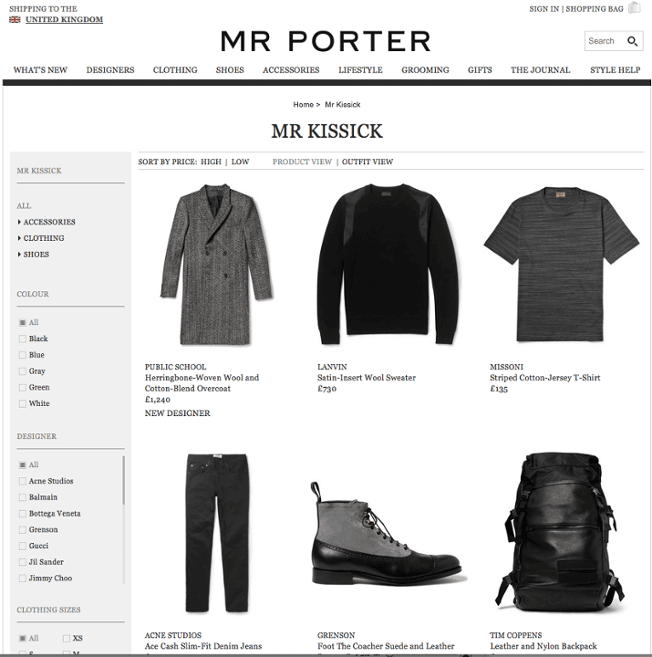 Dean Kissick's Mr Porter personal shopping page