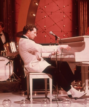 Jerry Lee Lewis performing on the television on Midnight Special, around 1975.