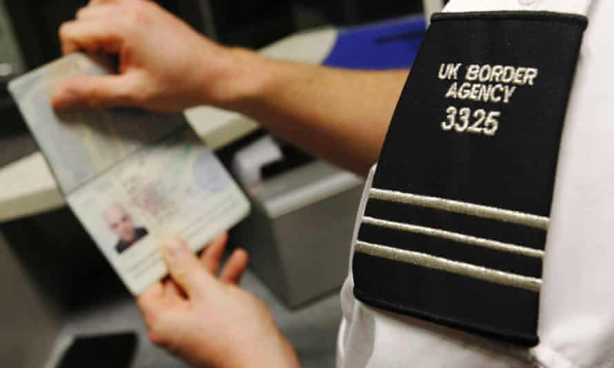Border guard with passport