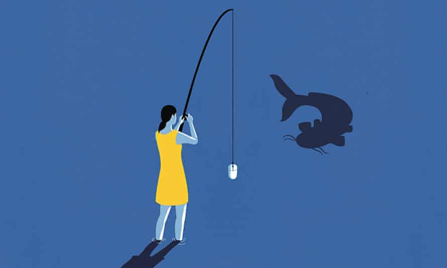 Illustration of woman fishing and a catfish in the water
