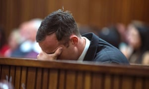 Oscar Pistorius reacts as Reeva Steenkamp's cousin gives evidence in aggravation of sentence during his hearing on Wednesday.