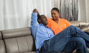 Ex-footballer Fabrice Muamba with his wife Shauna at their home.