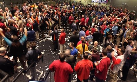 Traders in the S&P 500 stock index futures pit at the CME Group in Chicago earlier this year. Photo: Scott Olson/Getty Images