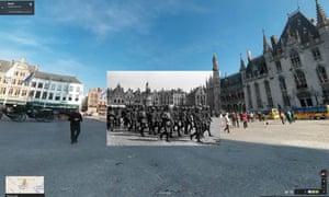 British POWs being marched through Bruges under escort by German soldiers, 1917