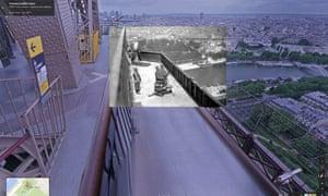 Anti aircraft gun placement, Eiffel Tower, 1916
