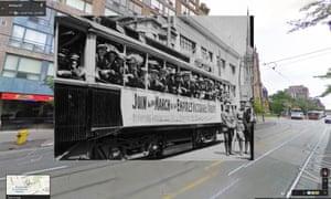 WW1 recruits on street car in Toronto 1914