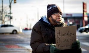 A homeless man in Detroit.
