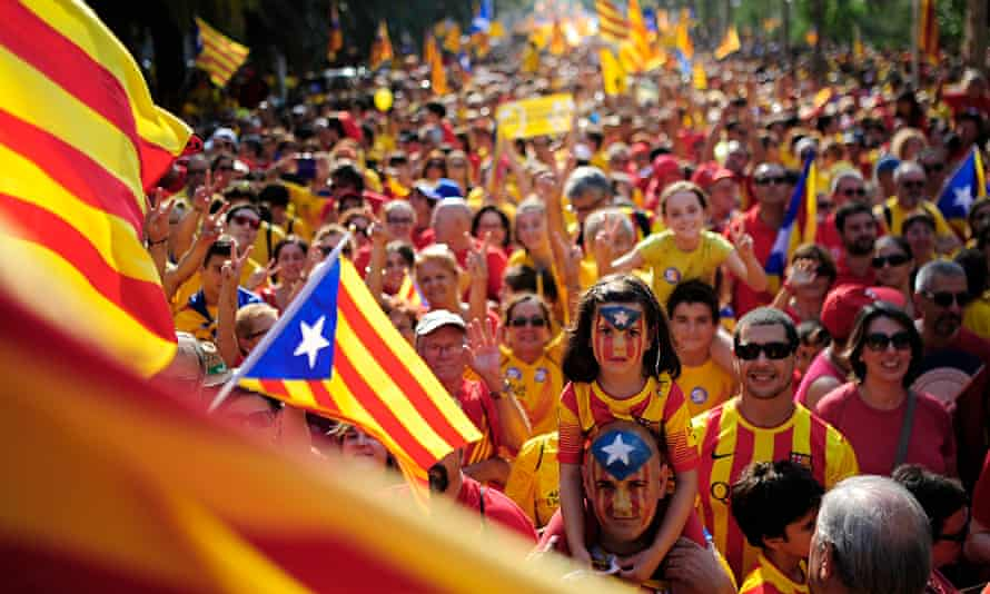 Demonstrators call for independence for Catalonia during this year's Catalan National Day in Spain