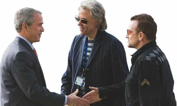 George Bush, Bob Geldof and Bono