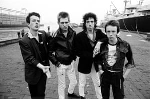 From left to right, singer Joe Strummer, bassist Paul Simonon, guitarist Mick Jones and drummer Nicky 'Topper' Headon of the Clash in New York in 1978