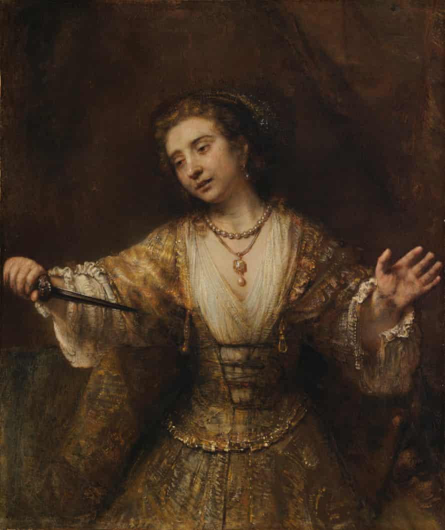 Lucretia, 1664, by Rembrandt. Andrew W. Mellon Collection  120 X 101 cm Frame: 159.1 x 139.4 x 16.5 cm