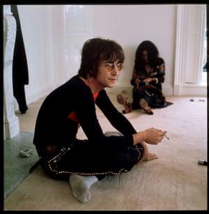 John Lennon with his wife Yoko Ono at his home, Tittenhurst Park, near Ascot, Berkshire, in July 1971