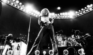 Singer Robert Plant of Led Zeppelin performing on stage at Earl's Court in London in May 1975.