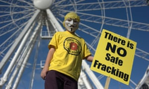 An anti-fracking activist at a rally in Manchester to highlight opposition to climate change.