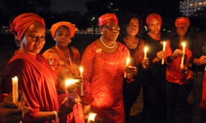 Campaigners for the release of abducted Chibok schoolgirls hold a vigil in Abuja