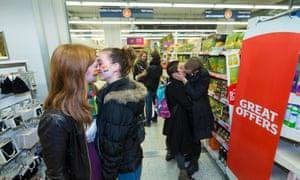 Mass kiss-in Sainsbury store in Brighton