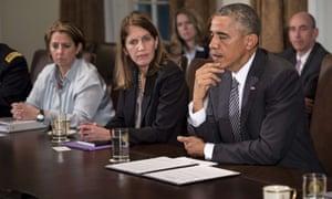 Lisa Monaco Homeland Security and Counterterrorism advisor, and Sylvia Burwell and Barack Obama.