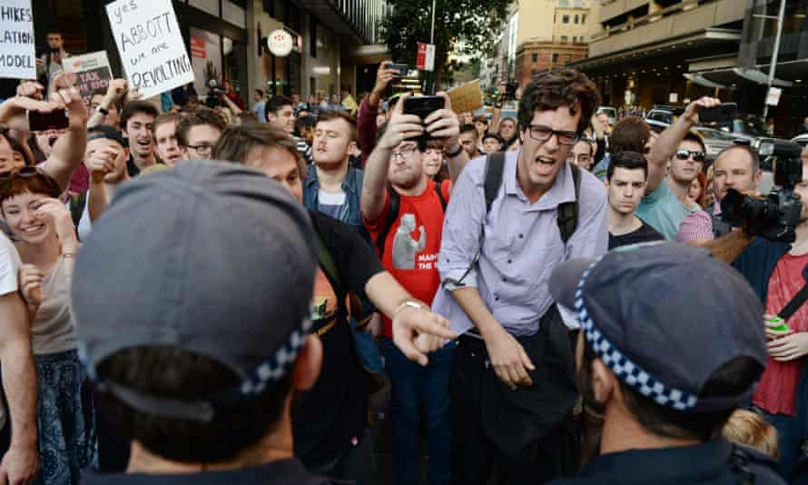 University students march through Sydney against the Abbott government's budget measures.