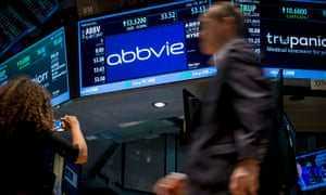 Share price for pharmaceutical maker AbbVie on the floor of the New York Stock Exchange