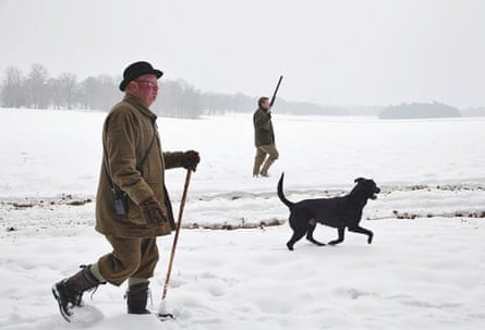 A woodcock shooting party in the snow at Holkham Hall